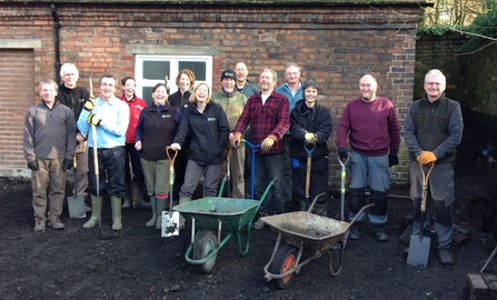 DePave: Volunteers smash up the hard standing at Coalbrookdale Community Centre